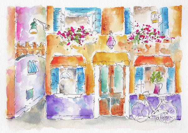 Painting - Colourful Burano Canalside Shop by Pat Katz