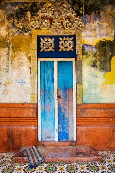 Cambodian Photograph - Colourful Door by Dave Bowman