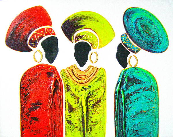Painting - Colourful Trio - Original Artwork by Tracey Armstrong