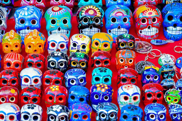 Chichen Digital Art - Colourfull Day Of The Dead Skulls, Mexico by Brian Shaw