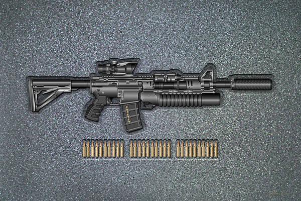 Digital Art - Colt   M 4 A 1   S O P M O D  Carbine With 5.56 N A T O Ammo On Gray Polyurethane Foam by Serge Averbukh