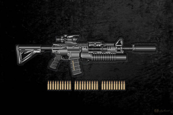 Digital Art - Colt  M 4 A 1  S O P M O D Carbine With 5.56 N A T O Rounds On Black Velvet by Serge Averbukh