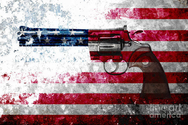 Digital Art - Colt Python 357 Mag On American Flag by M L C
