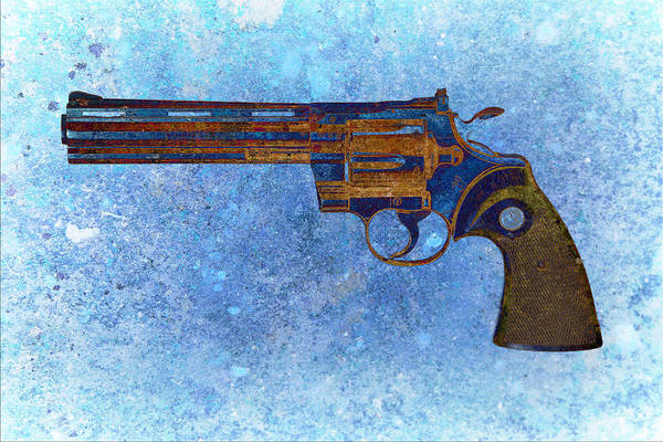 Digital Art - Colt Python 357 Mag On Blue Background. by M L C