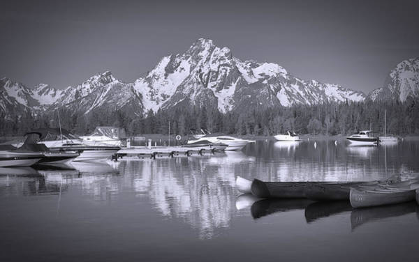 Photograph - Colter Bay Marina Black And White Reflections by Dan Sproul