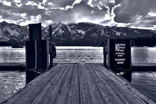 Photograph - Colter Bay Marina Sunlight Black And White by Dan Sproul