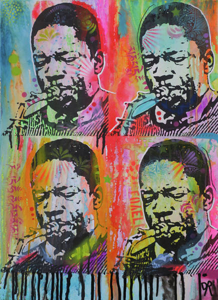 John Coltrane Wall Art - Painting - Coltrane 4x by Dean Russo Art