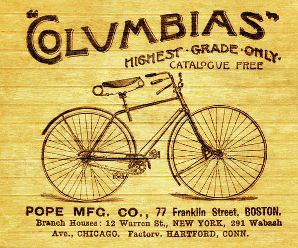 Mixed Media - Columbia Bicycle Vintage Poster On Wood by Dan Sproul