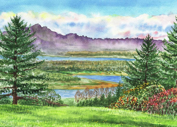 Painting - Columbia River Gorge State Of Washington Watercolor by Irina Sztukowski