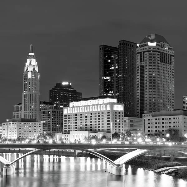 Photograph - Columbus Black And White City Skyline - Square by Gregory Ballos