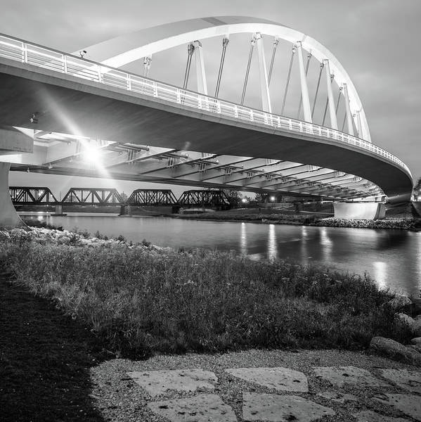 Photograph - Columbus Bridge - Main Street Over Scioto River - Black And White 1x1 by Gregory Ballos