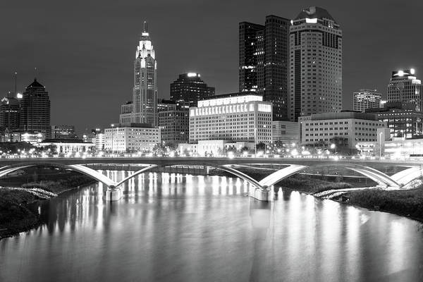 Photograph - Columbus City Downtown Skyline - Black And White by Gregory Ballos