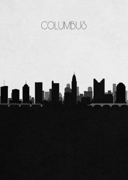 Souvenir Digital Art - Columbus Cityscape Art by Inspirowl Design