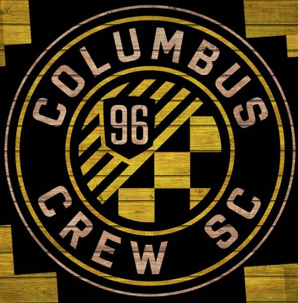Mixed Media - Columbus Crew Wood Door by Dan Sproul