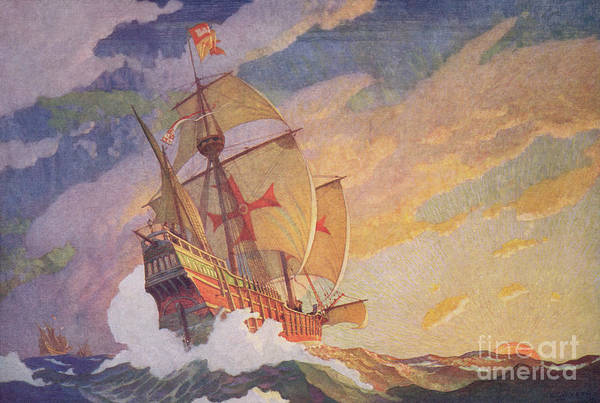 Galleons Wall Art - Painting - Columbus Crossing The Atlantic by Newell Convers Wyeth