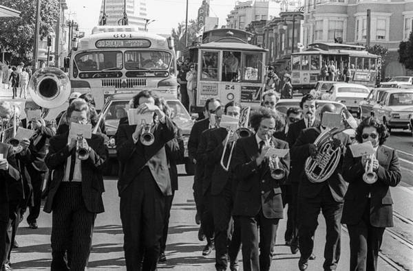 Photograph - San Francisco Columbus Day Parade Band With Cable Cars by Frank DiMarco