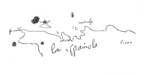 Photograph - Columbus Sketch Hispaniola by Granger