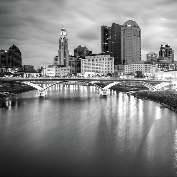 Photograph - Columbus Ohio Skyline Art - Square Format Black And White by Gregory Ballos