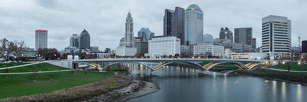 Photograph - Columbus Ohio Skyline At Dusk Panoramic by Gregory Ballos
