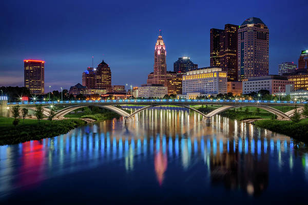 Ohio State University Photograph - Columbus Ohio Skyline At Night by Adam Romanowicz
