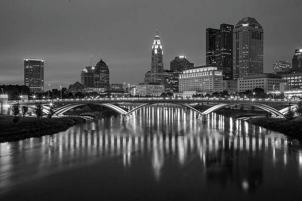 Ohio State University Photograph - Columbus Ohio Skyline At Night Black And White by Adam Romanowicz
