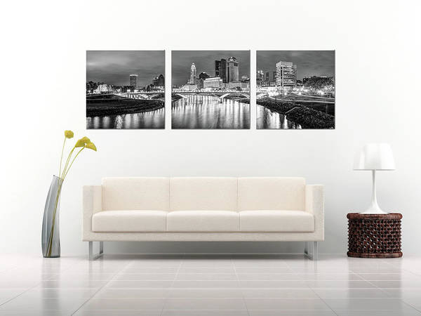 Photograph - Columbus Ohio Skyline At Night In Black And White - Panoramic Panels Series by Gregory Ballos