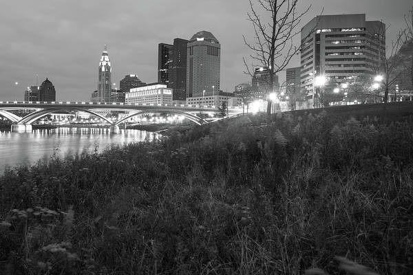 Photograph - Columbus Ohio Skyline Black And White by Gregory Ballos