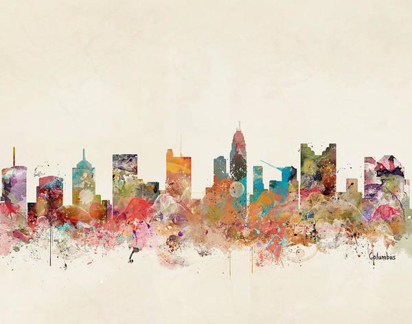 Ohio Wall Art - Painting - Columbus Ohio Skyline by Bri Buckley