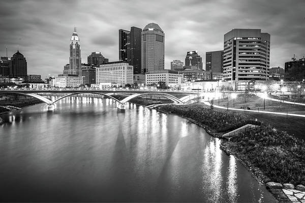 Photograph - Columbus Ohio Skyline Bw Contrasts by Gregory Ballos