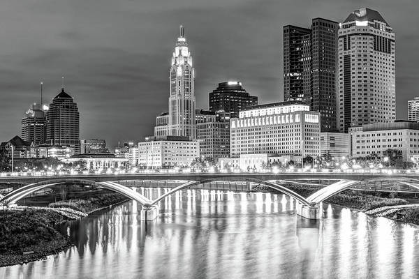 Photograph - Columbus Ohio Skyline In Black And White by Gregory Ballos