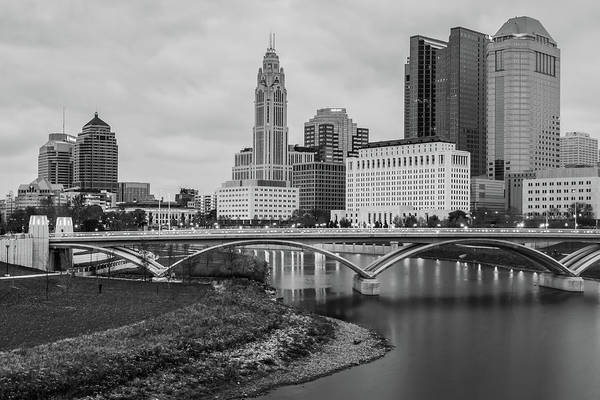 Photograph - Columbus Ohio Skyline Under Clouds - Black And White by Gregory Ballos