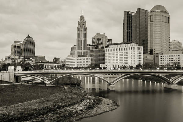 Photograph - Columbus Ohio Skyline Under Clouds - Sepia by Gregory Ballos