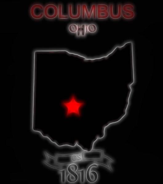 Osu Digital Art - Columbus Ohio State University Sign by Dan Sproul