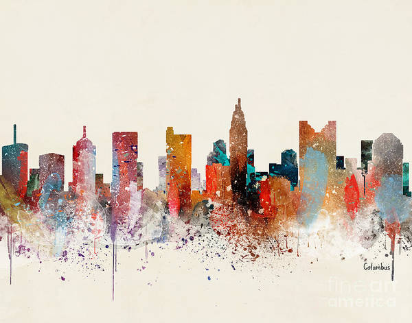 Wall Art - Painting - Columbus Skyline  by Bri Buckley