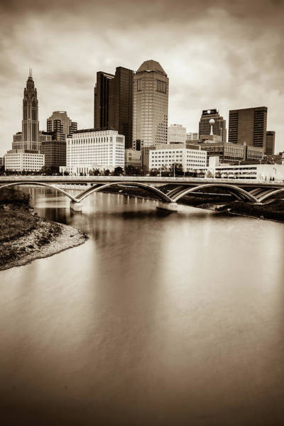 Photograph - Columbus Skyline Contrast - Sepia by Gregory Ballos