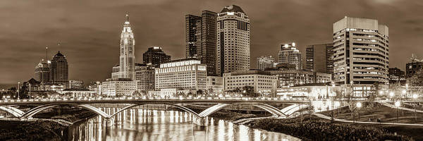 Photograph - Columbus Skyline Panorama Sepia - Ohio Usa by Gregory Ballos