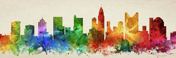 Wall Art - Digital Art - Columbus Skyline Panorama Usohco-pa03 by Aged Pixel