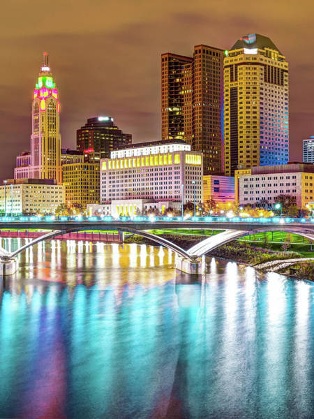 Photograph - Columbus Skyline Reflecting On Blue Waters by Gregory Ballos