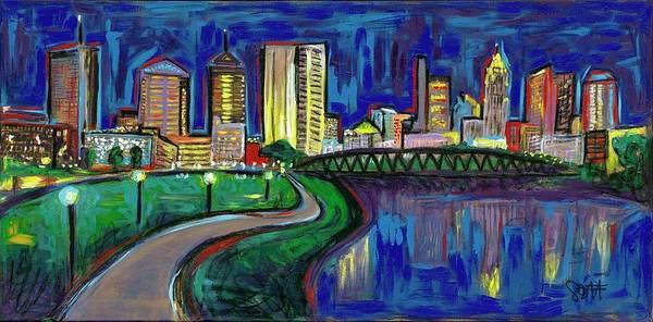 Samantha Painting - Columbus Skyline by Samantha Bennett