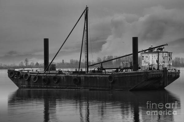 Photograph - Columia River Gorge Tug Boat Black And White by Adam Jewell