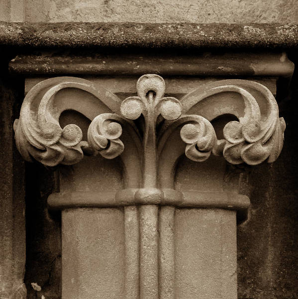 Photograph - Column Capital P West Facade Of Wells Cathedral by Jacek Wojnarowski