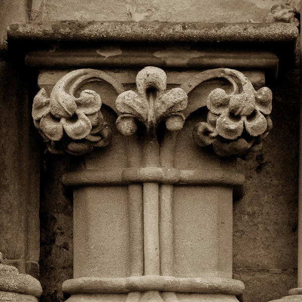 Photograph - Column Capital R West Facade Of Wells Cathedral by Jacek Wojnarowski