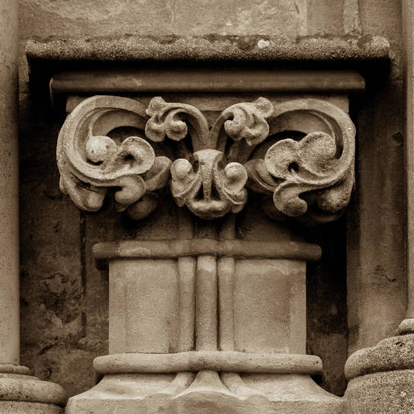 Photograph - Column Capital S West Facade Of Wells Cathedral by Jacek Wojnarowski