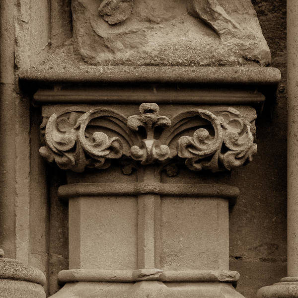 Photograph - Column Capital T West Facade Of Wells Cathedral by Jacek Wojnarowski