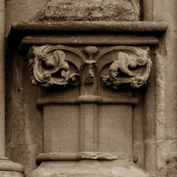 Photograph - Column Capital U West Facade Of Wells Cathedral by Jacek Wojnarowski