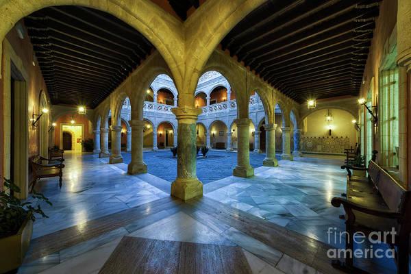 Photograph - Columned Courtyard Castillo De Luna Rota Cadiz Spain by Pablo Avanzini