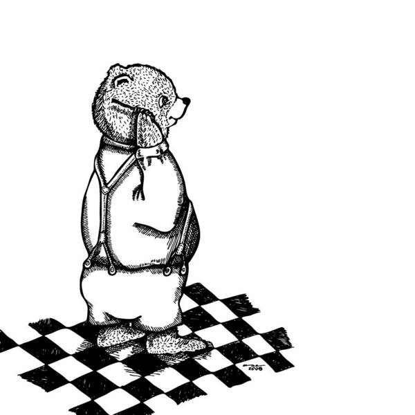 Checker Drawing - Comb Bear by Karl Addison
