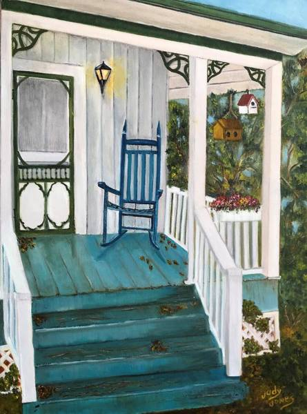Rocking Chairs Painting - Come On In by Judy Jones
