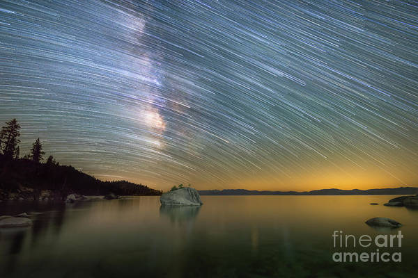 Photograph - Comet Trails Over Lake Tahoe by Michael Ver Sprill