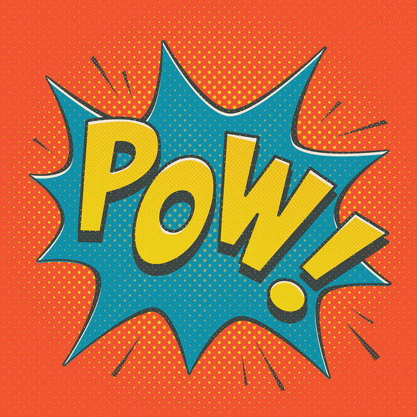 Playful Digital Art - Comic Pow by Mitch Frey